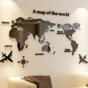 Goedkope 3D Wereldkaart Acrylglas Plexiglas