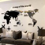 Goedkope 3D Wereldkaart op Acrylglas